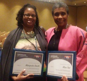 CSM Vice Chairwoman Marquita Smith (L) and professor Alice Tait (R) with their diversity leadership program certificates in Minneapolis